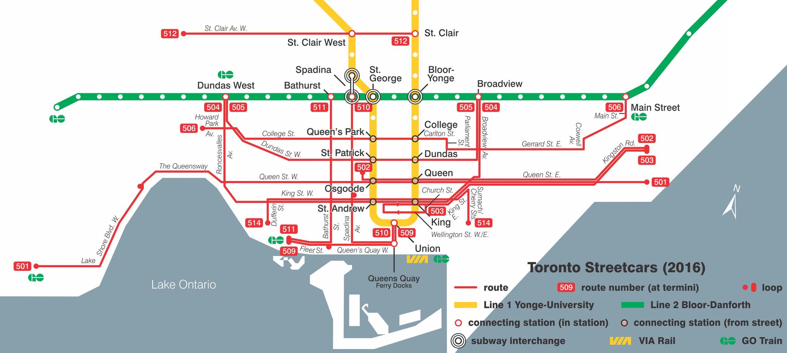 Toronto Raitiovaunu Jarjestelma Kartta Kartta Toronto