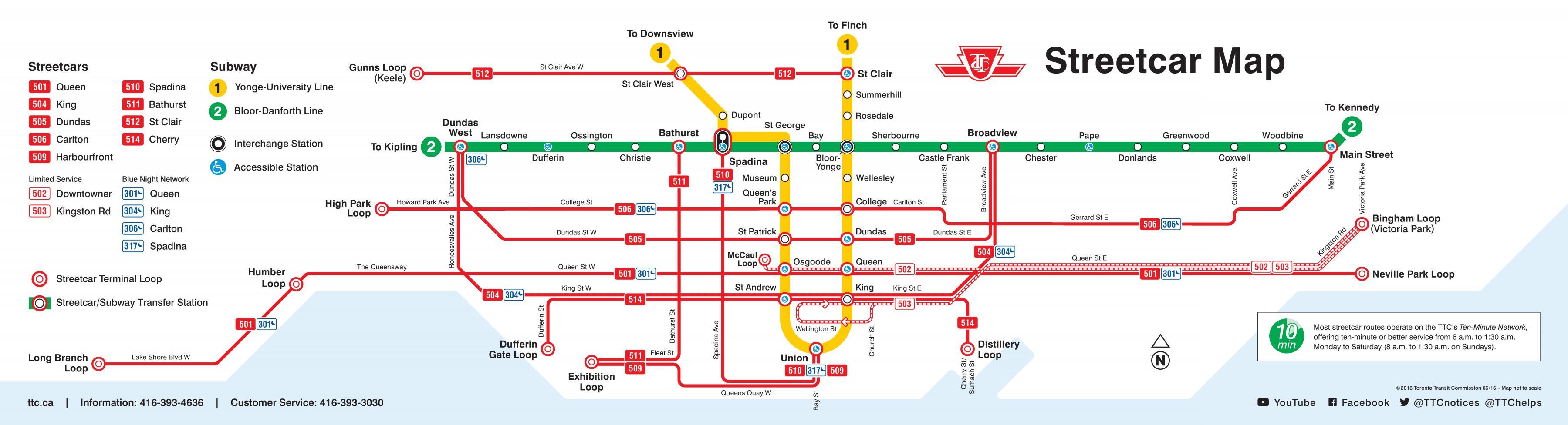 Toronto Raitiovaunu Kartta Kartta Toronto Raitiovaunu Kanada